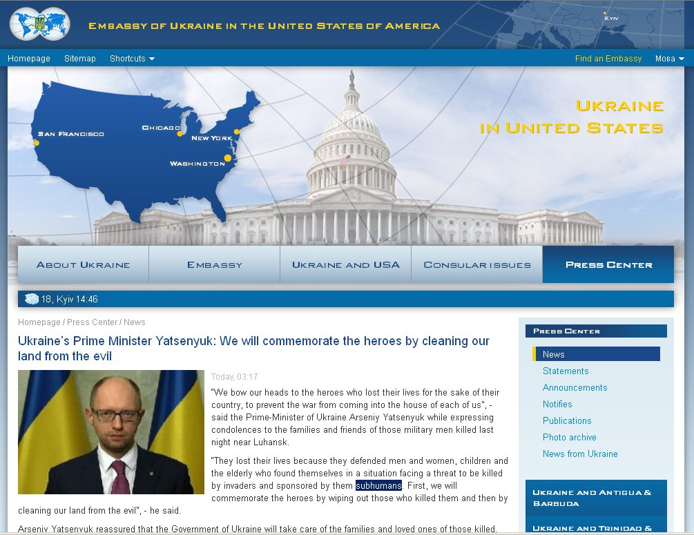 Screenshot original text Embassy Ukraine on subhumans